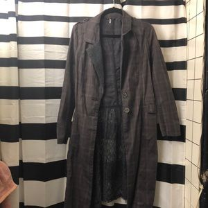Free People dark grey lace and plaid trench size 2